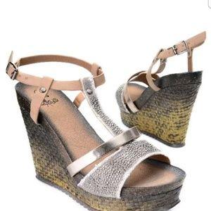 Corkys Boutique Embellished T-strap Wedge Sandal